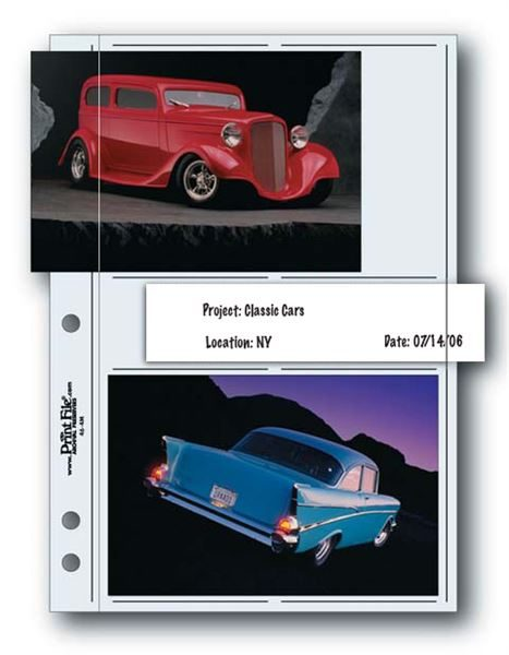 "Clear album page holds four 4""x6"" prints and one strip of four 35mm negatives"